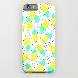Modern tropical mint yellow pineapples black polka dots pattern illustration iPhone Case