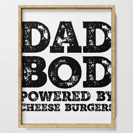Dad Bod Powered By Cheese burgers Funny Food Lovers Father Figure Gifts Idea Serving Tray