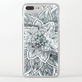 Indie Floral Mandla on White Marble Clear iPhone Case