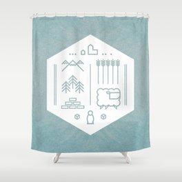 Settlers Line Art Shower Curtain