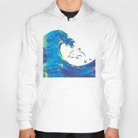 hokusai Hoodies featuring Hokusai Rainbow & dolphin_G by FACTORIE