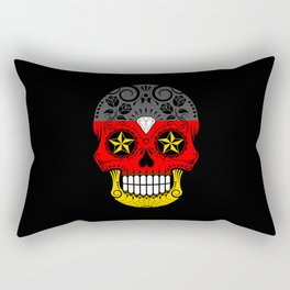 Sugar Skull with Roses and Flag of Germany Rectangular Pillow