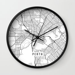 Perth Map, Australia - White  Wall Clock