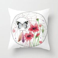 Dreamcatcher No. 2 - Butterfly Illustration Throw Pillow