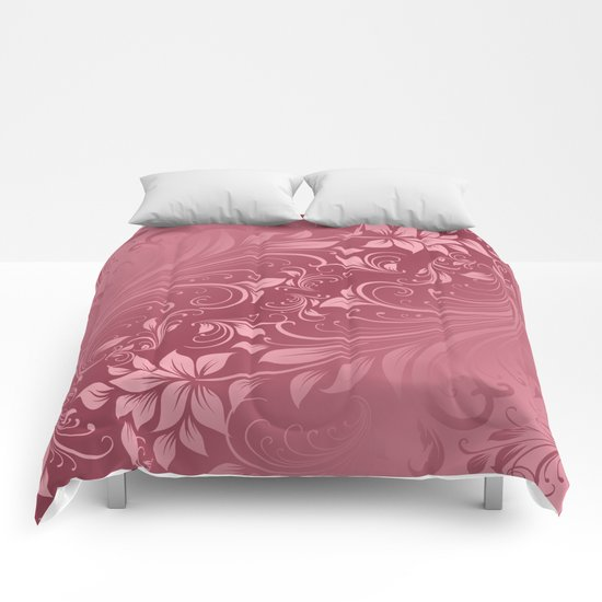 Rose quartz swirls leaves Comforters