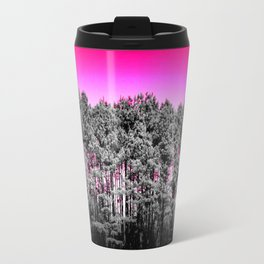 Gray Trees Hot pink Sky Travel Mug