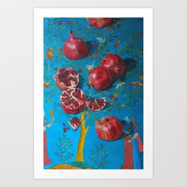 still life. flaming pomegranates. original oil painting Art Print