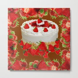 CHOCOLATE STRAWBERRIES PARTY CAKE Metal Print