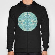 Botanical Geometry - nature pattern in blue, mint green & cream Hoody
