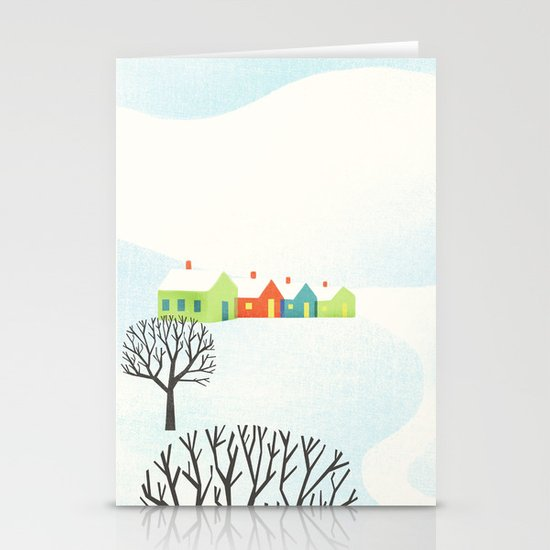 Snowy Little Town Stationery Cards