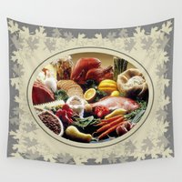 thanksgiving Wall Tapestries featuring Thanksgiving Dinner and Autumn Decoration. by taiche