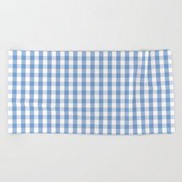 Classic Pale Blue Pastel Gingham Check Beach Towel