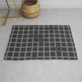 very dark gray minimal circles Rug