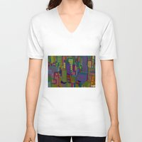 cityscape V-neck T-shirts featuring Cityscape night by Glen Gould