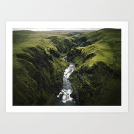 Iceland Green Canyon with waterfall -  Landscape photography Art Print