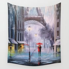 the first snow in Paris Wall Tapestry