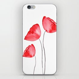 3 red poppies watercolor iPhone Skin