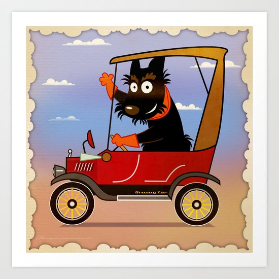 Scottie in a groovy car Art Print