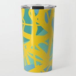 Yellow Green Acqua Abstract Organic Pattern Desig Travel Mug
