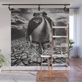 Inhabited Head Grayscale Wall Mural