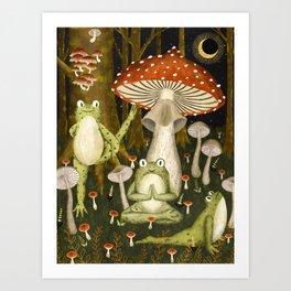 mushroom forest yoga Art Print