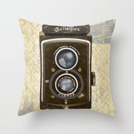 Yellow Vintage Camera Art Throw Pillow