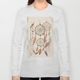 Bohemian dream catcher with beads and feathers Long Sleeve T-shirt