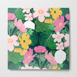 Stylish exotic floral and foliage design Metal Print