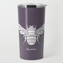 Humblebee White on Purple Background Travel Mug