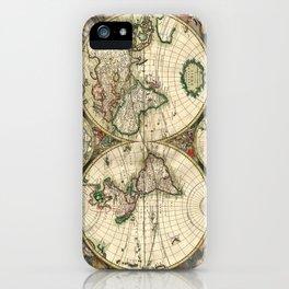 Old map of world (both hemispheres) iPhone Case