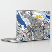 portland Laptop & iPad Skins featuring Portland map by Mondrian Maps