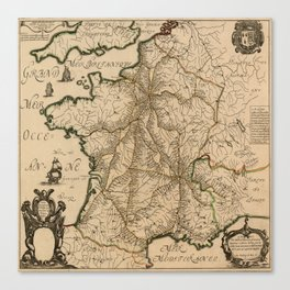 Map Of France 1632 Canvas Print