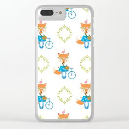 Girl Fox with Bike Pattern Clear iPhone Case