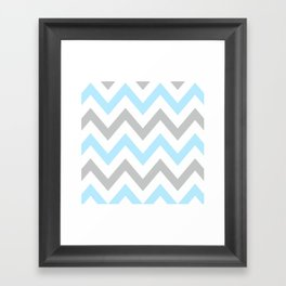 BLUE & GRAY CHEVRON Framed Art Print