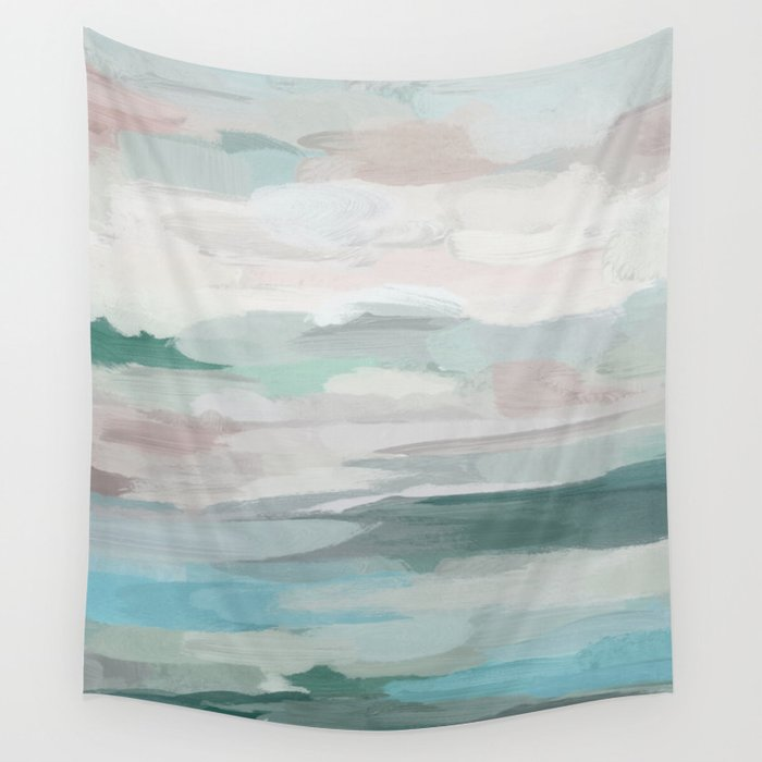 Sage Green Sky Blue Blush Pink Abstract Nature Wall Art Water Land Painting Print Tapestry