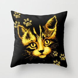 Cute Cat Portrait with Paws Prints Throw Pillow