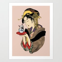 Tea time with Frenchie Art Print