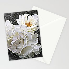 White Roses Flower Bouquet Stationery Cards