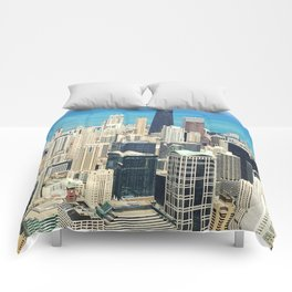 Chicago Buildings Color Photo Comforters