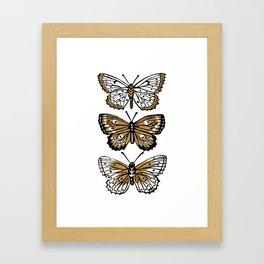 Wings - linocut butterflies gold and black nature butterfly art print Framed Art Print