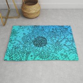 Flower Zen: Blue-Green Fade Rug