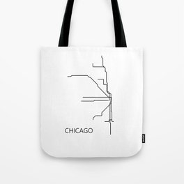 Chicago Metro Map - Black and White Art Print Tote Bag