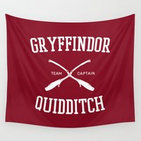 ravenclaw Wall Tapestries featuring Hogwarts Quidditch Team: Gryffindor by IA Apparel