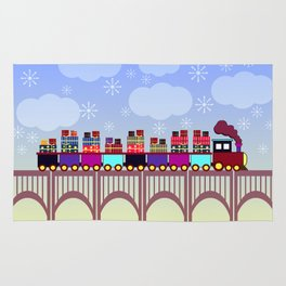 A train with Christmas gifts Rug