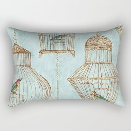 Vintage dream- Exotic colorful birds in cages on teal background Rectangular Pillow