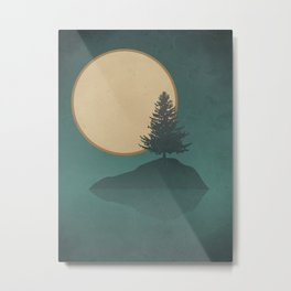 Pine Tree Island Lake: Full Moon Night Metal Print