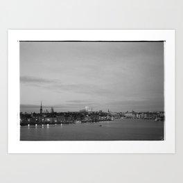As night falls over Stockholm Art Print