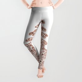 Sparkling christmas tree rose gold ombre Leggings