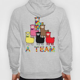 A  Team Autism Awareness, Advocacy & Support Cute Colorful Llamas Hoody