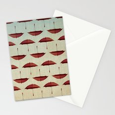 raining umbrellas pattern Stationery Cards